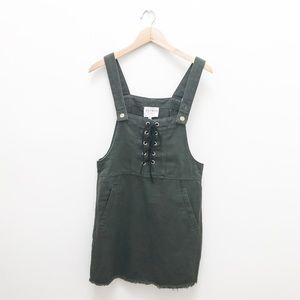 Hayden LA Lace Up Army Green Dress Overall